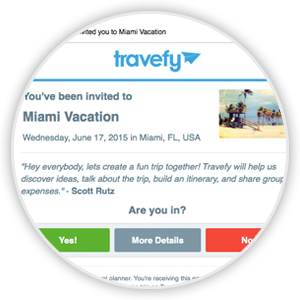 Invite others via email to collaborate on travel plans with you.