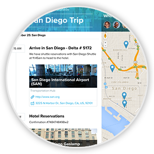 Share your itinerary via sharable web page